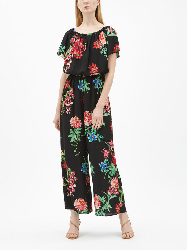 Flower Print Chiff Jumpsuit