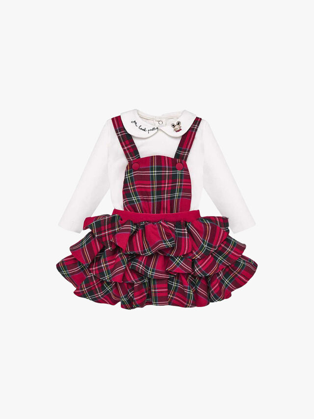 T-Shirt And Ruffled Dungaree Skirt Set