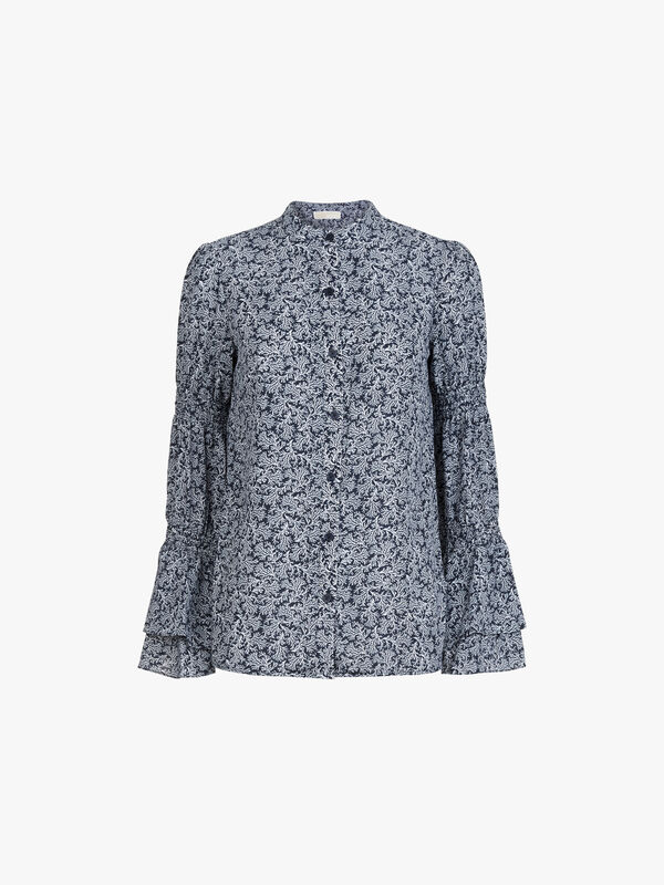 Painterly Reef Print Long Sleeve Top