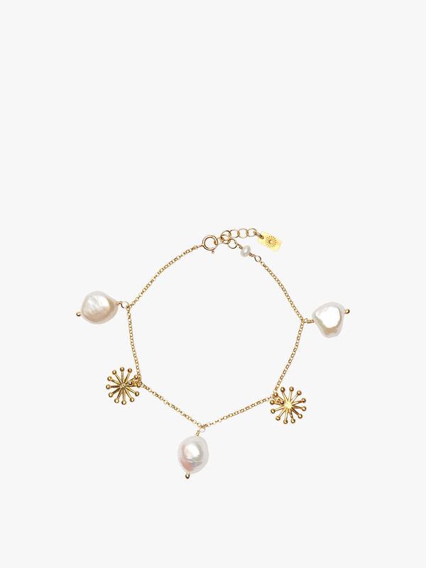 Multiple Pearl Sunburst Charm Necklace