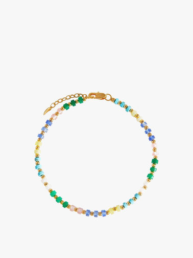 Gold Mix Stone2 Beaded Anklet