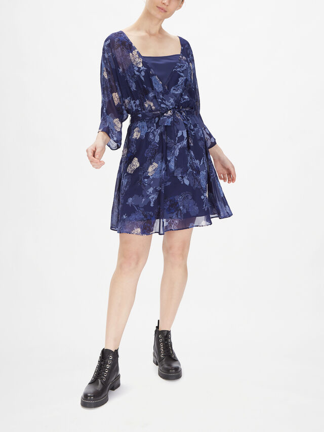 Collega Printed Mini Dress With Wide Short Sleeves