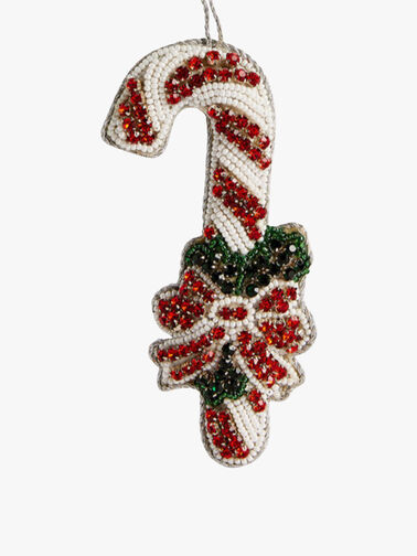 Beaded Candy Cane with Holly Decoration