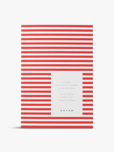 Vita Red Stripe Small Notebook Ruled Pages