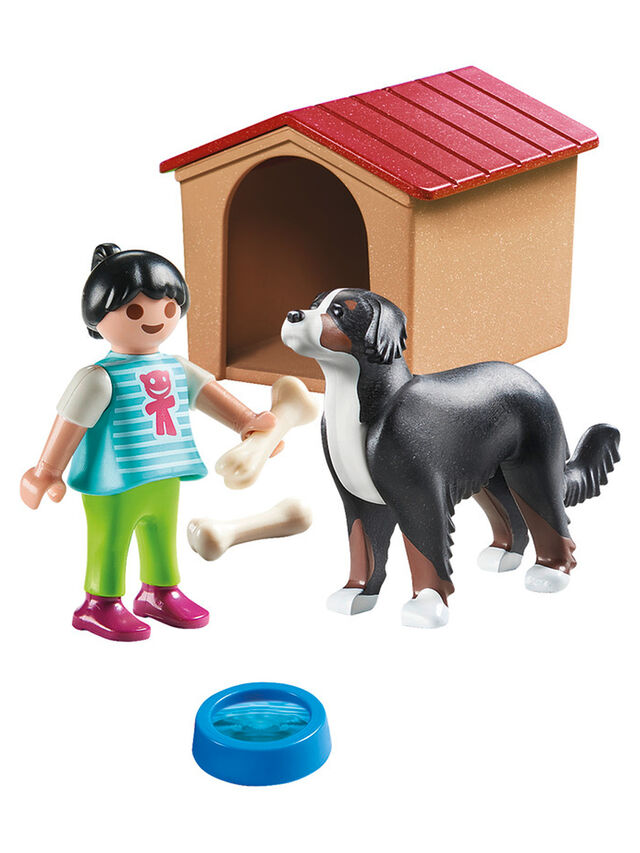 Country Dog with Doghouse
