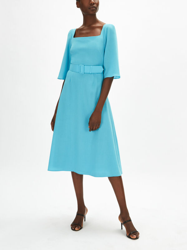 Fit And Flare Crepe Shift Dress