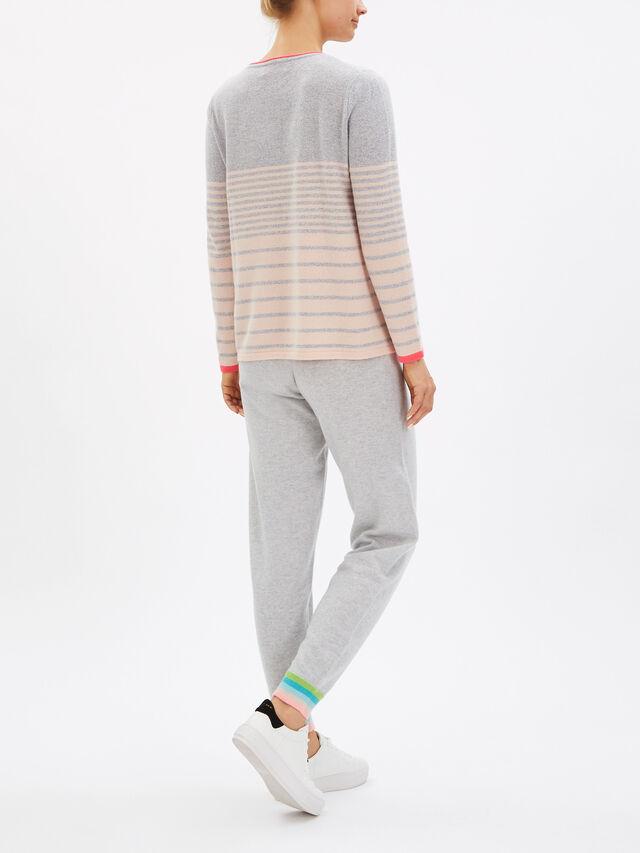 Stripe Lurex Crew Neck Knit