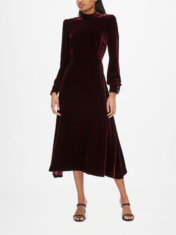 Velvet High Neck Midi Dress