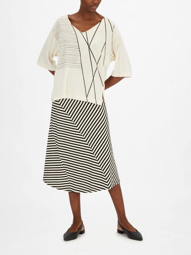 Dejana Crop Sleeve Abstract Line Print Jersey Top