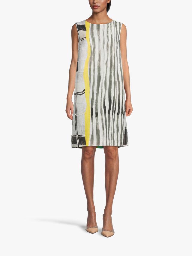 Sleeveless Abstract Print Low Back Viscose Dress
