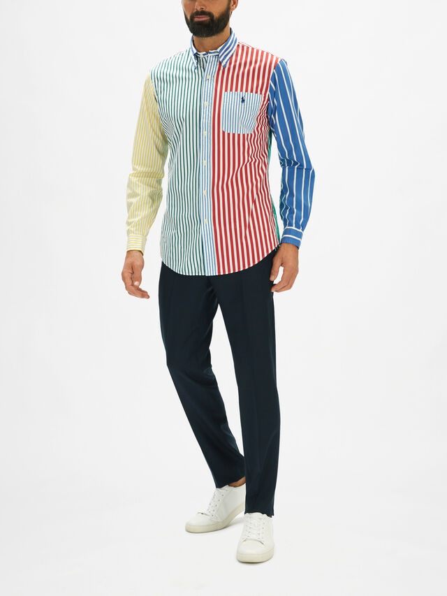Multi Stripe Panel Oxford Custom Fit Shirt