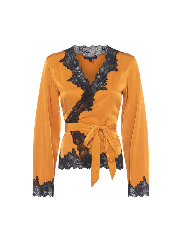 Anise Lace Sequin Wrap Top