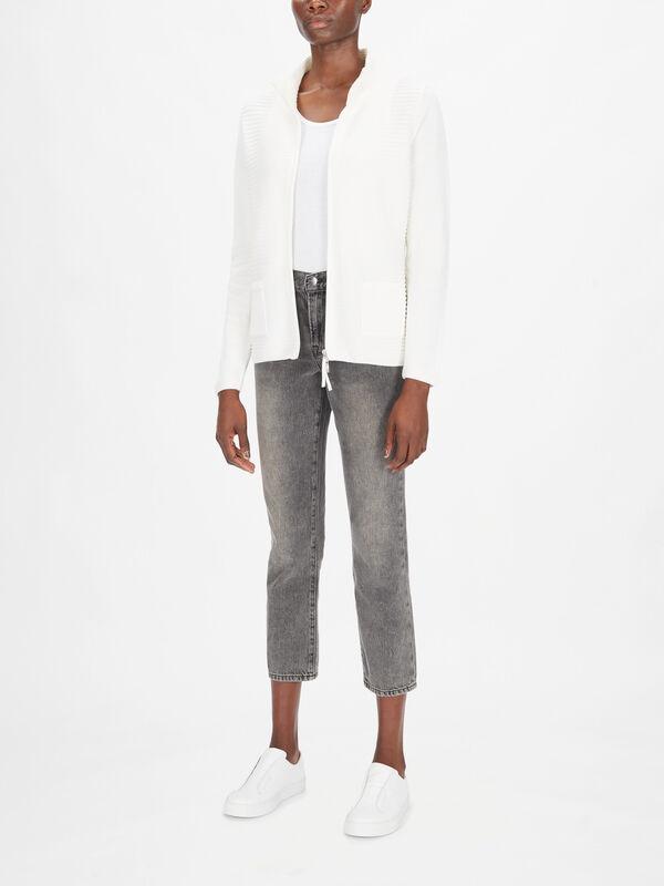 Rib Zip Front Cotton Blend Cardigan
