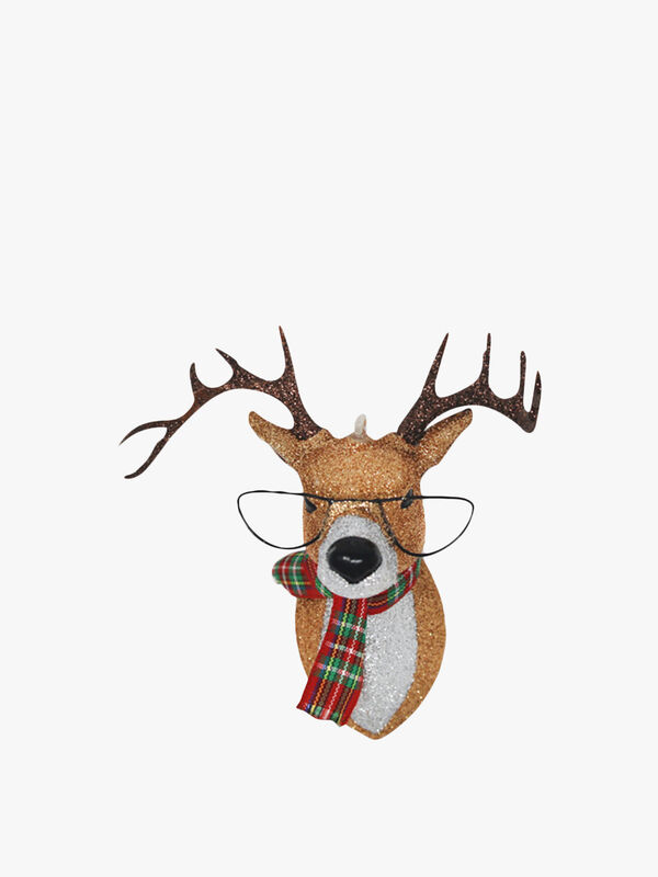 Glittered Reindeer With Glasses Christmas Decoration
