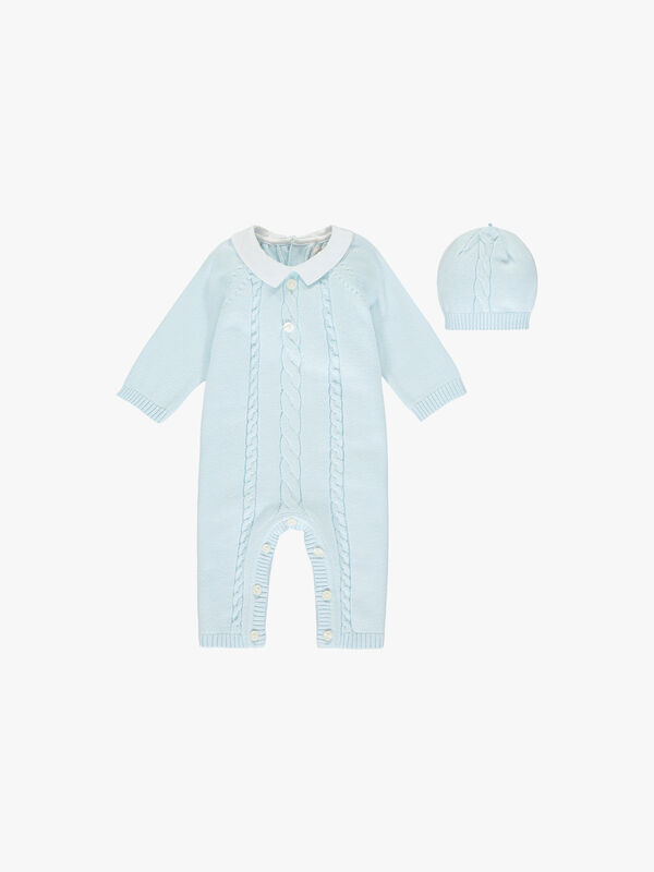 Knitted Cable Footless Babygrow With Hat