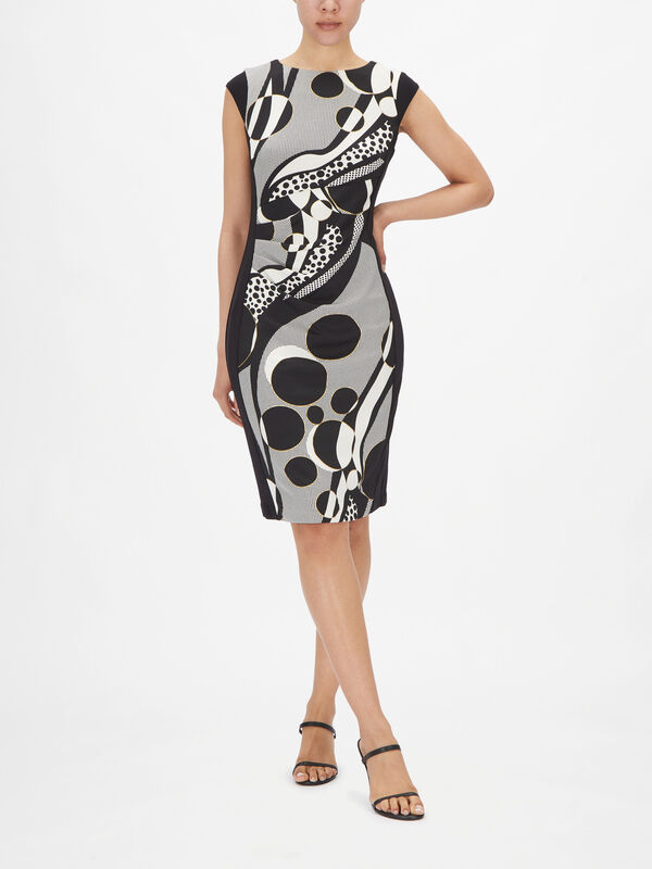 Cap Sleeve Circle Print Fitted Dress with Gathered Side