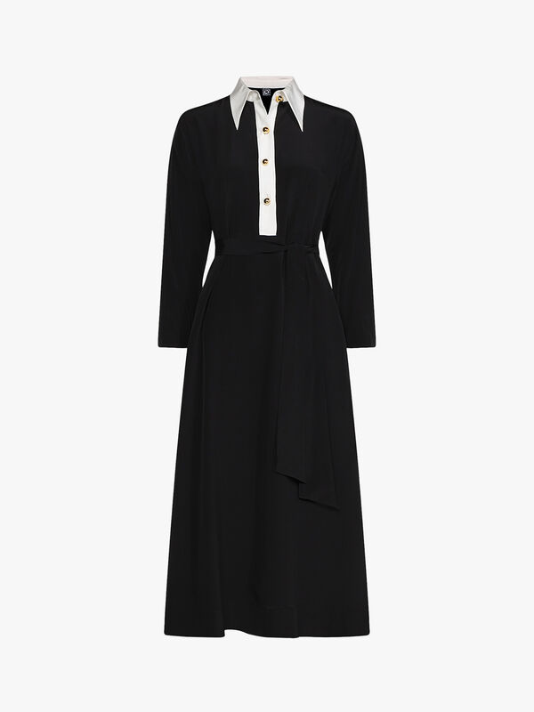 Zendaya Contrast Collar Shirt Dress