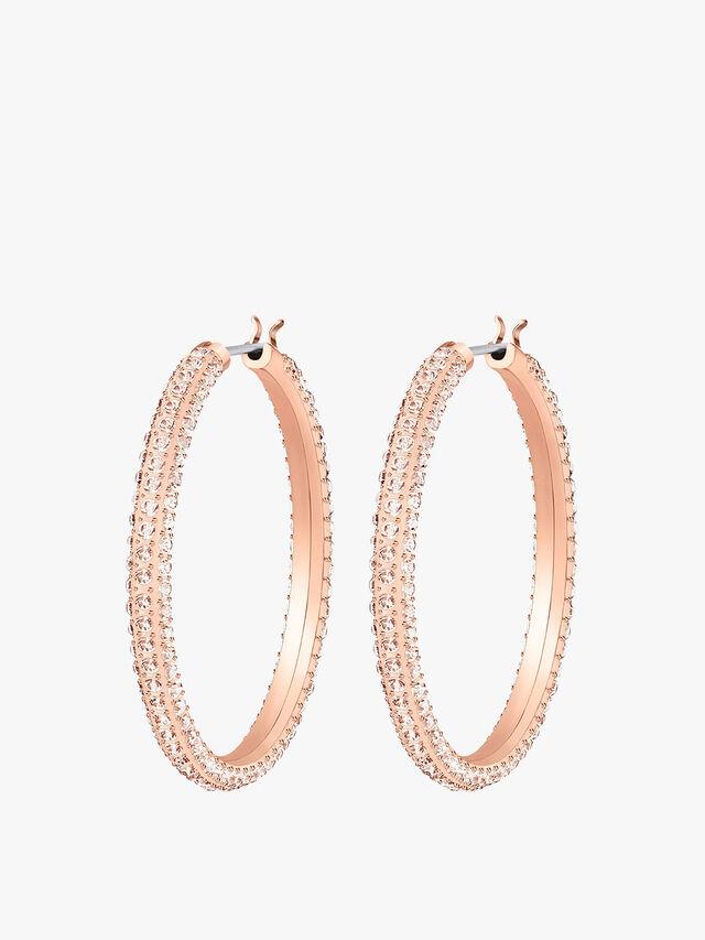 Stone Hooped Pierced Earrings