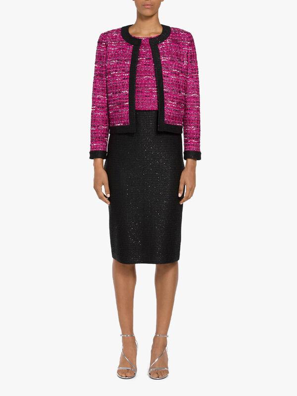 Opulent Textured Tweed Sequined Jacket