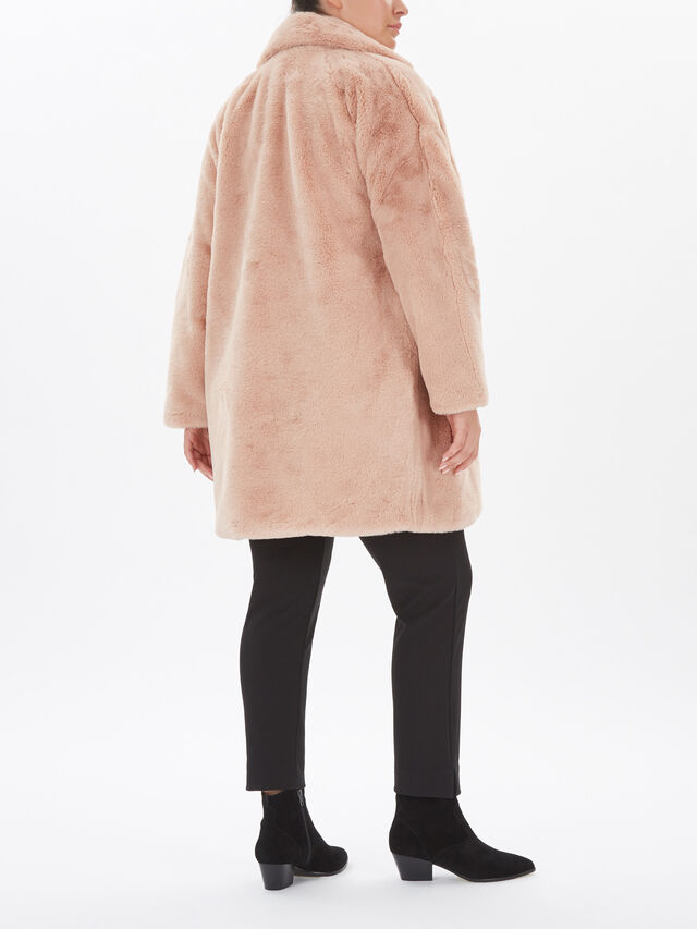 Faux Fur 3/4 Popper Coat