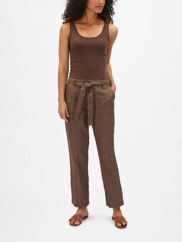 Linen Mel Belted Straight Leg Trouser