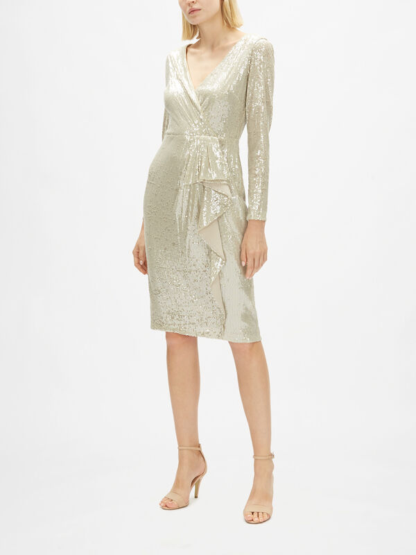 Palmer Metallic Wrap Over Midi Dress