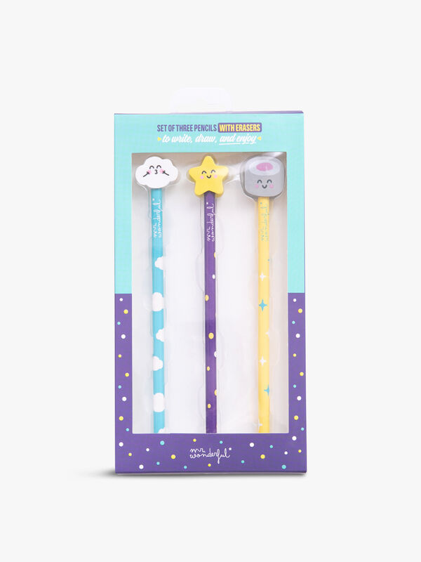 Set Of 3 Pencils With Erasers
