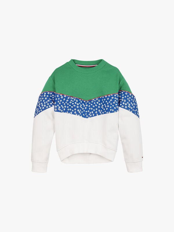 Floral Blocking Crew Sweatshirt