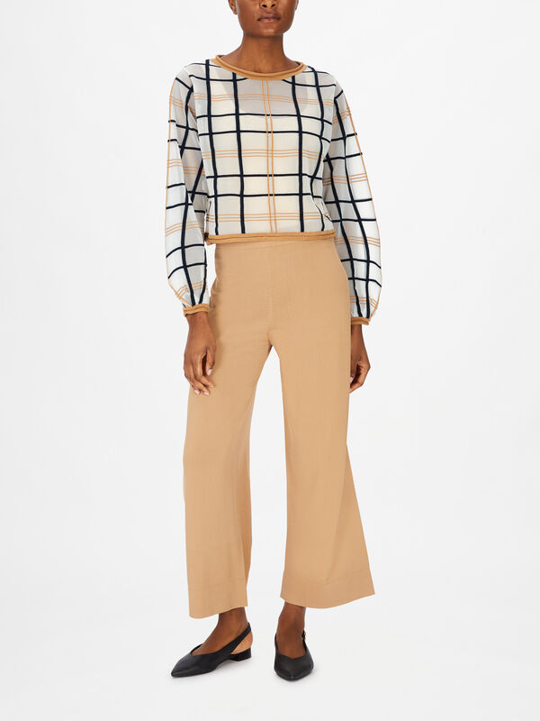 Gingham Cropped Sheer Sweater