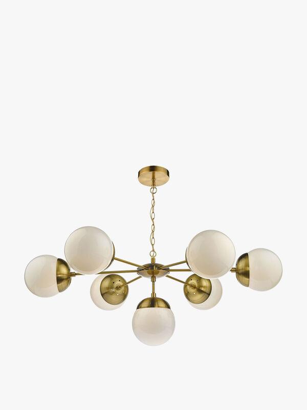 Bombazine 7 Light Pendant Natural Brass