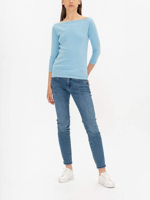Knitted Boat Neck Long Sleeve Top