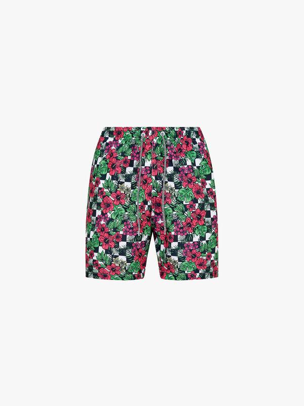 Checker Flower Mid Length Swim Shorts
