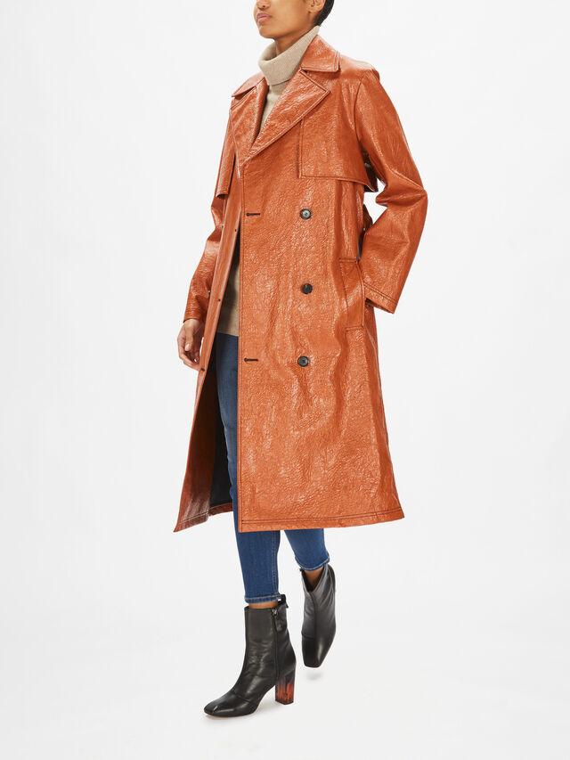 Faux Leather Trench Coat