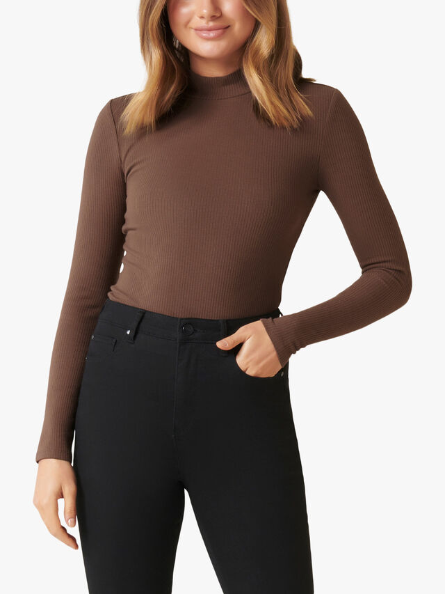 Brandi High Neck Rib Long Sleeve