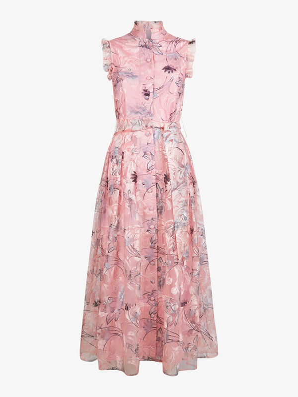 Rose High Neck Floral Dress