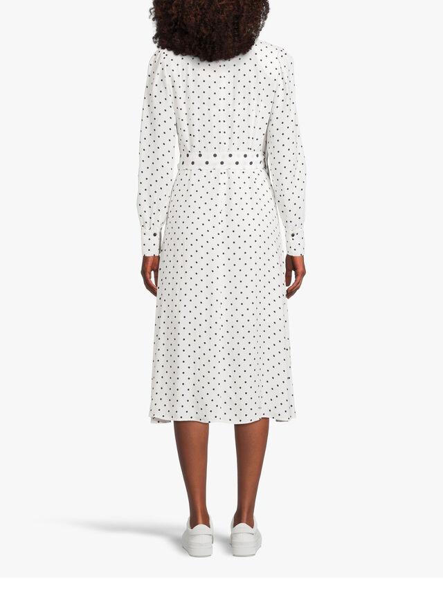 Consumo Polka Dot Long Sleeve Wrap Over Dress