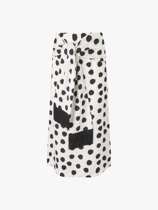 Kate Dot Fringe Waist Tie Skirt