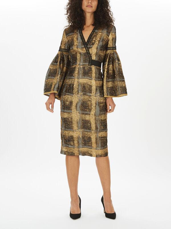 Check Cloque Statement Sleeve Dress