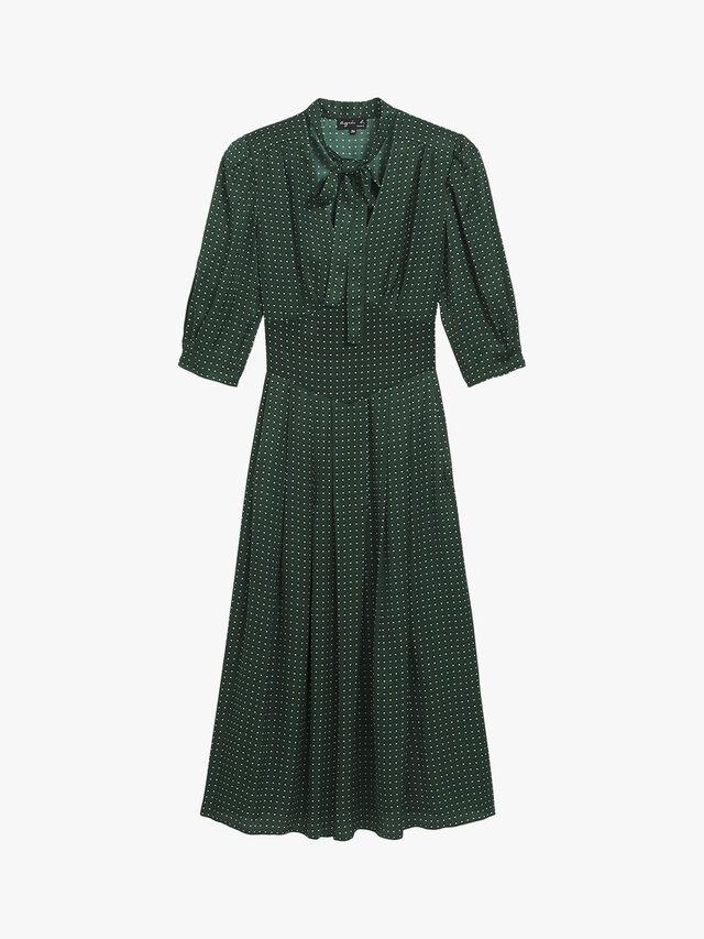 Dark Green Graphic Pattern Dress
