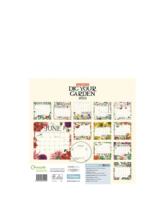 Emma Bridgewater Dig Your Garden Square Calendar 2022