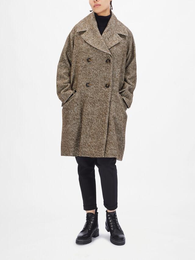 Herringbone Double Breasted Coat
