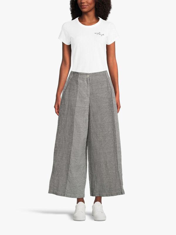 Ingela Cropped Wide Fit Linen Trouser