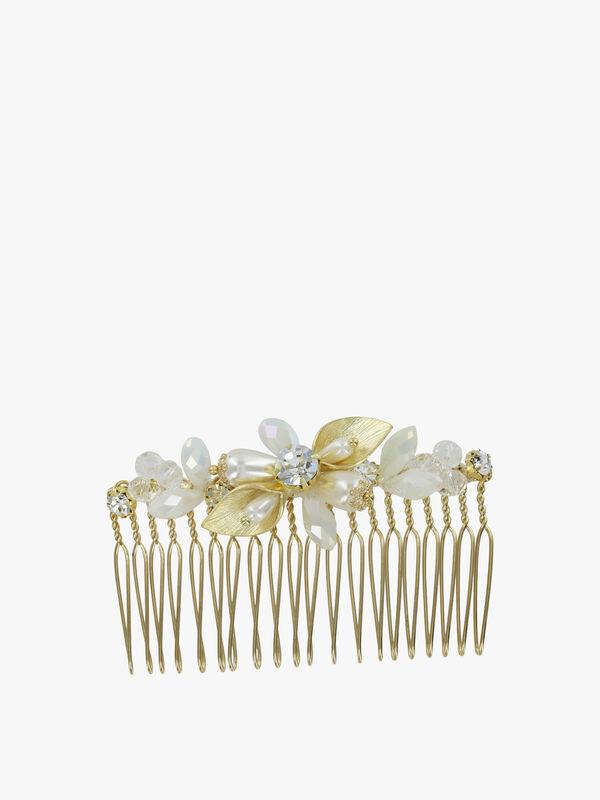 Pearl Crystal Burst Hair Comb
