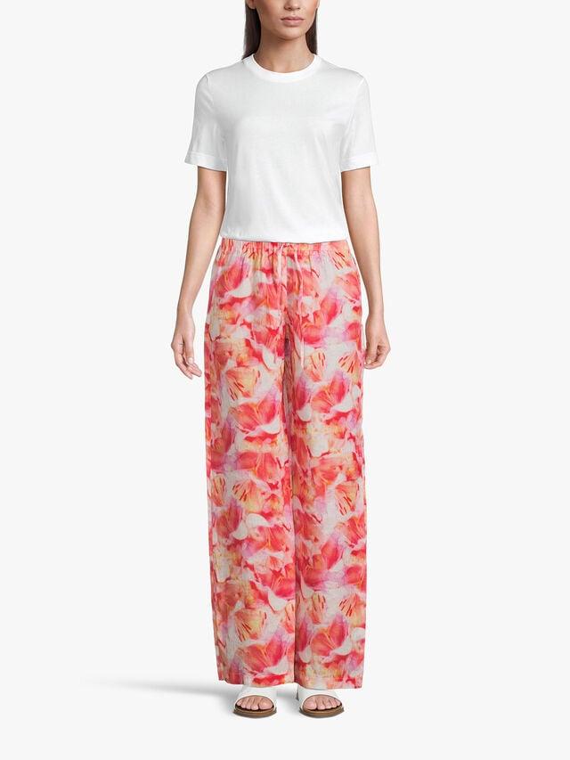 Flower Print Wide Leg Pull On Trouser