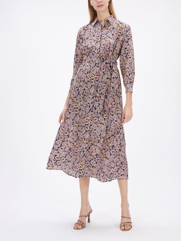 Ornella Printed Silk Midi Shirt Dress