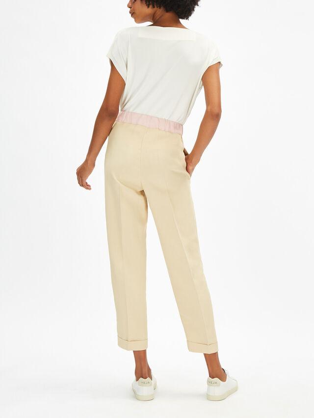 Linen Blend Colour Contrast Trouser