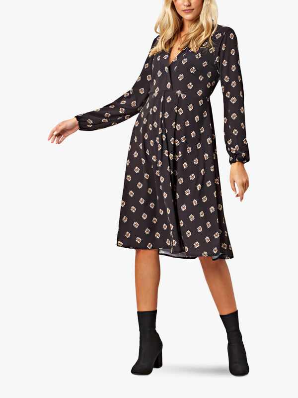 V-Neck Geo Print Dress