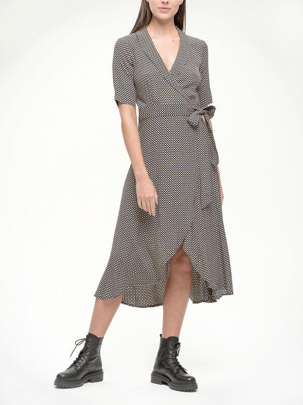 Tannin Check Wrap Dress