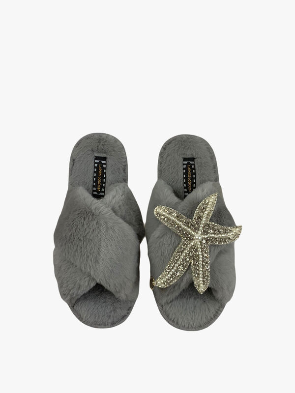Grey Slipper Pearl and Silver Crystal Starfish