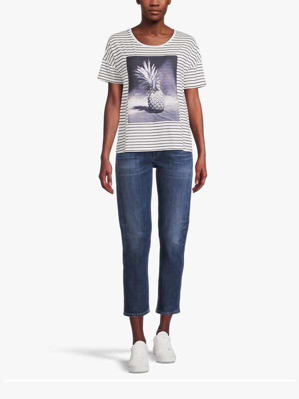 Drop Shoulder Stripe T Shirt with Pineapple Motif